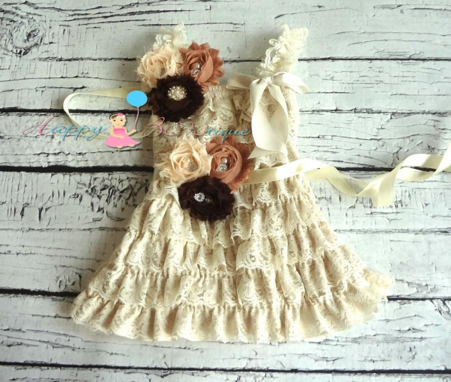 Hochzeit - Burlap Champage Lace Dress, Flower girls dress,Ivory Dress,baptism,baby dress,Birthday,Christening,rustic wedding,burlap wedding,flower girl