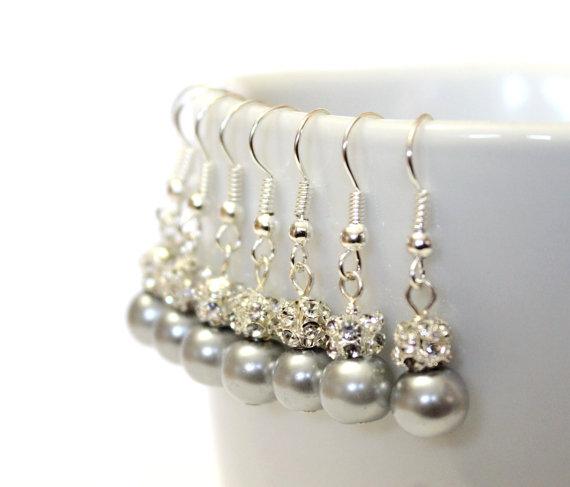 Hochzeit - 4 Pairs Grey Pearls Earrings, Set of 4 Bridesmaid Earrings, Pearl Drop Earrings, Swarovski Pearl Earrings, Pearls in Sterling Silver, 8 mm