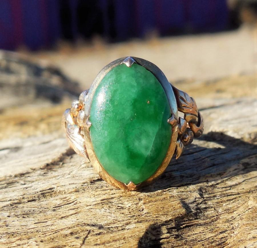 Vintage Antique 3 50ct Jade 14k Rose Gold Unique Engagement Ring Victorian Arts And Crafts