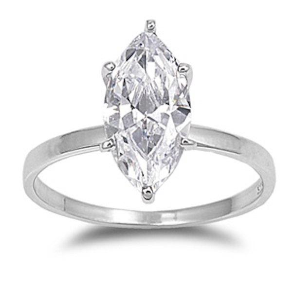 f52a31276 2.80 Carat Marquise Cut Russian Diamond CZ Clear Rhinestone Swarovski  Crystal Sterling Silver Solitaire Wedding Engagement Anniversary Ring