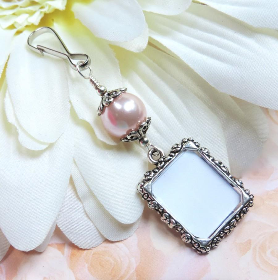 wedding bouquet photo charm pink pearl memorial photo