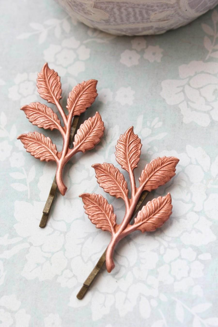 Mariage - Pink Copper Branch Bobby Pins Leaf Hair Pins Nature Hair Accessories Woodland Wedding Forest Rose Gold Tone Leaves Hair Slides