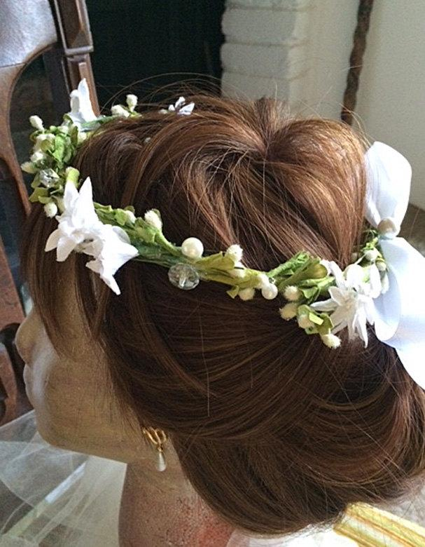 Mariage - Wedding Wreath, Bridal Headpiece, Crystals, Pearls and Jasmine, White and Ivory Millinery flowers on green based wreath, Flower Girl Circlet
