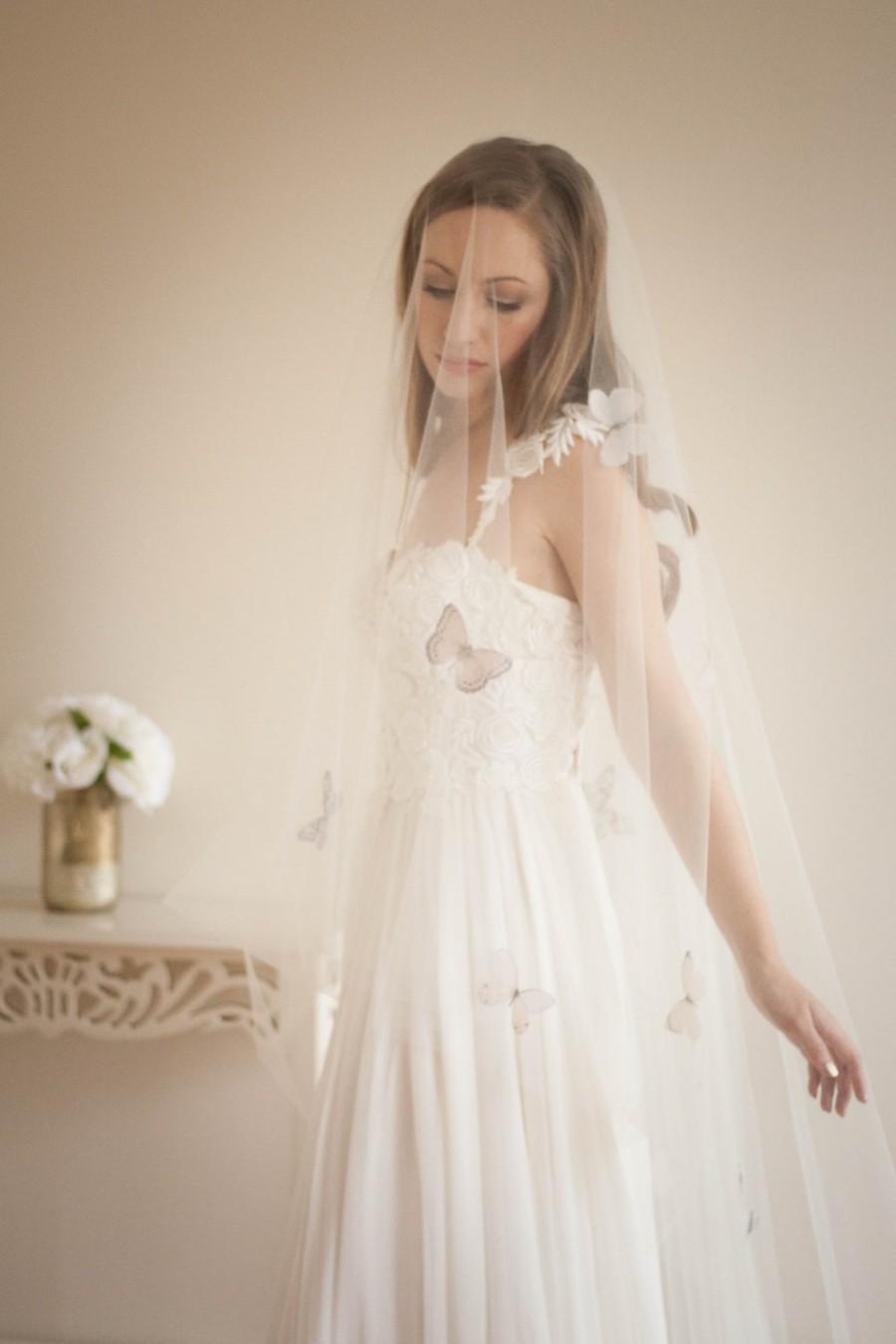 Wedding - Butterfly veil, elbow, fingertip, knee, waltz, floor, chapel or cathedral length, Blush veil, diamond white, cathedral veil chapel veil #308