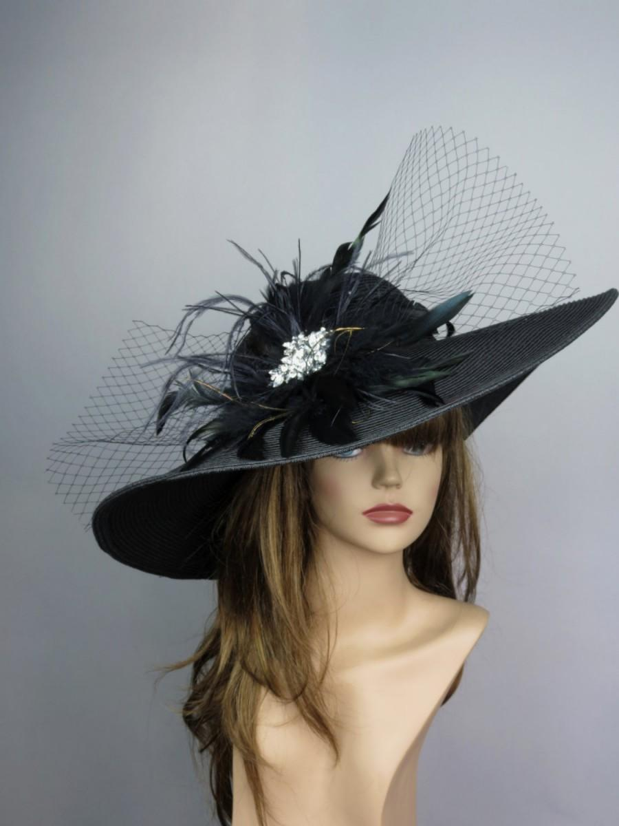 Wedding - Black Church Wedding Hat Head Piece Kentucky Derby Hat Black Bridal Coctail Hat Couture Fascinator  Bridal Hat