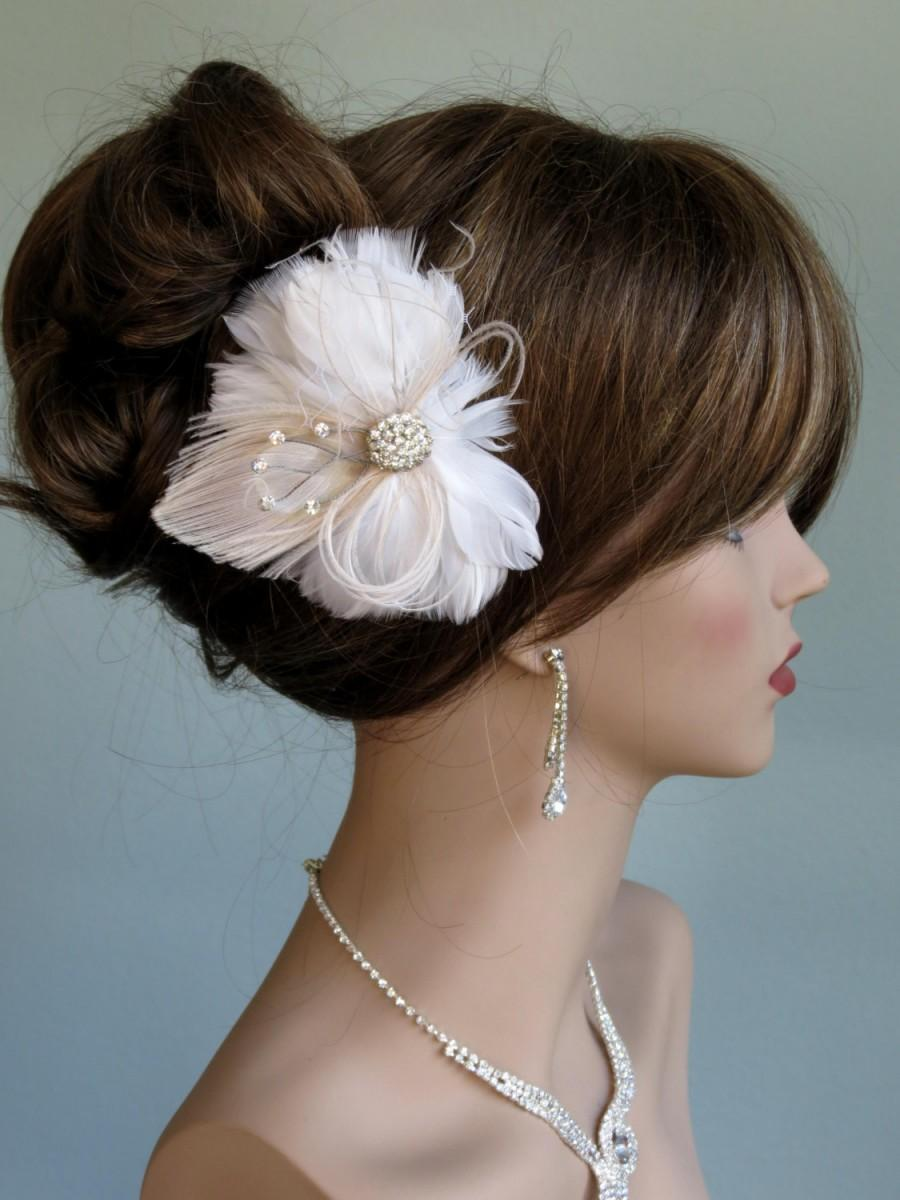Свадьба - SALE Wedding Accessory Feather Hair Clip Bridal Accessory Hair  Clip Feathers Swarovsky Ivory Peacock