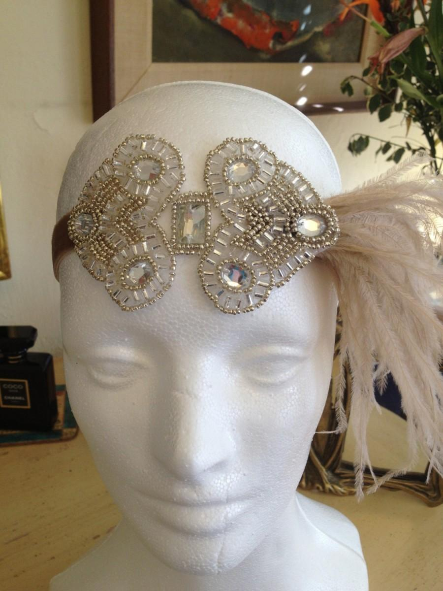 زفاف - Flapper dress headpiece, beige gatsby dress headband, 1920s dresses feather headband, beige, silver ostrich, feathered headband, silver,