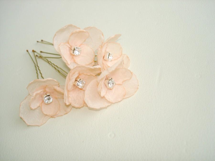 زفاف - Peach Wedding  Hair Pins, Small Crystal  Wedding Hair Flowers, Hairpins, Minimalist Bridal Hair Accessories