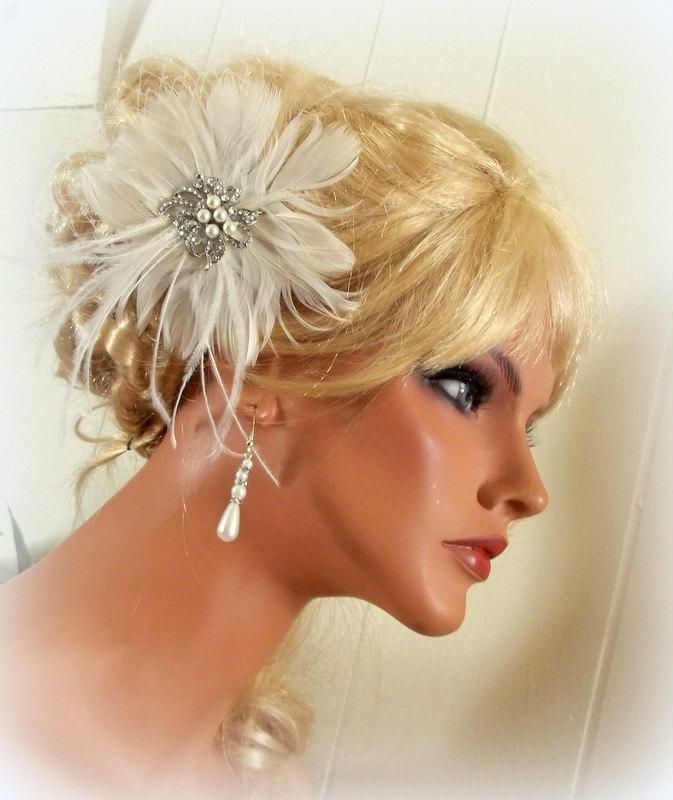 زفاف - WEDDING FASCINATOR , Bridal Hair Clip, Feather Headpiece, Wedding Hair Clip, Wedding Fascinator, VIntage Style Wedding Brooch, Wedding Comb