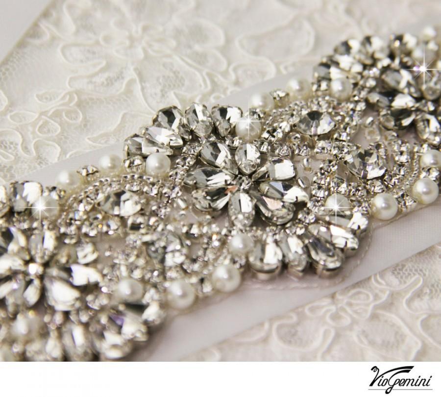 """Hochzeit - Swarovsky Crystal applique, rhinestone applique, wedding sash applique, beaded crystal applique, DIY wedding sash 15"""" long"""