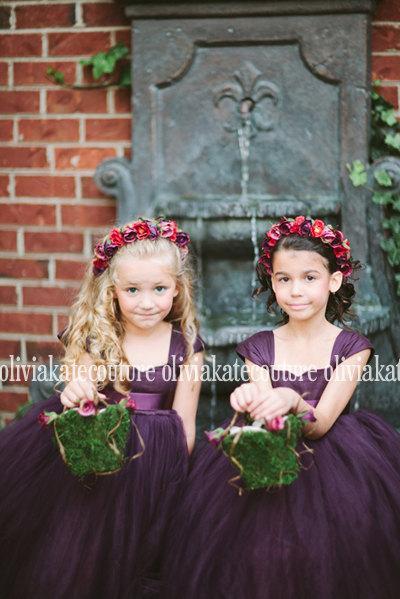 Mariage - Plum Flower Girl Dress 6 7 8