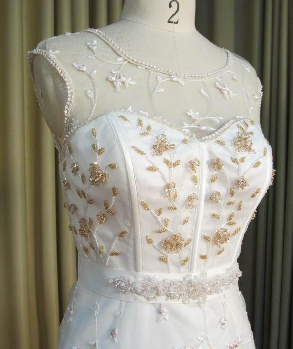 Illusion Neckline Rose Gold Embroidered Wedding Dress