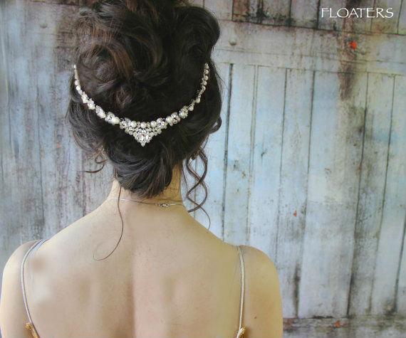 زفاف - Wedding pearl headpiece, wedding headband, pearl headpiece, wedding hair accessories, wedding hair jewelry