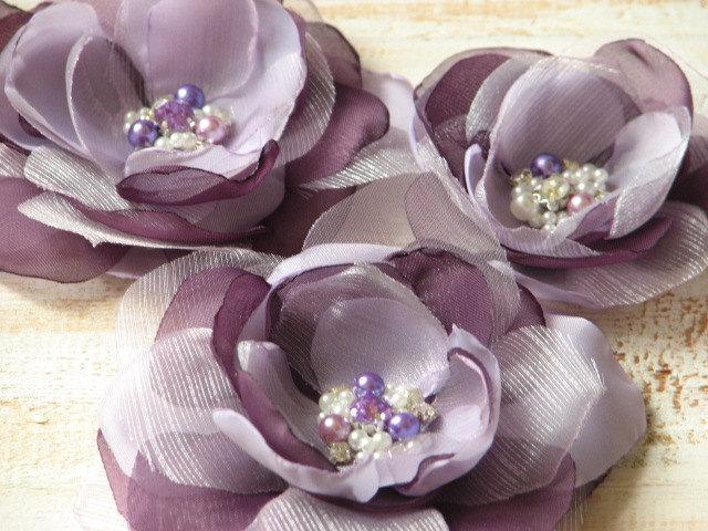 Mariage - Purple lilac hair flower 3 purple hair flower Set of 3 lilac hair flower Lilac Lavender hair pin Wedding purple flower Lilac wedding flower