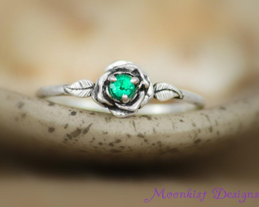Delicate Emerald Rose Engagement Ring In Sterling  Silver. Vintage Inspired Engagement Engagement Rings. Antique Copper Wedding Rings. Artistic Wedding Rings. Mood Stone Wedding Rings. Top View Engagement Rings. European Engagement Rings. Vintage Wedding Rings. Chunky Rings