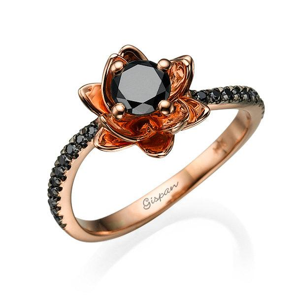 Flower Engagement Ring Black Diamond Ring Rose Gold Engagement Ring Black