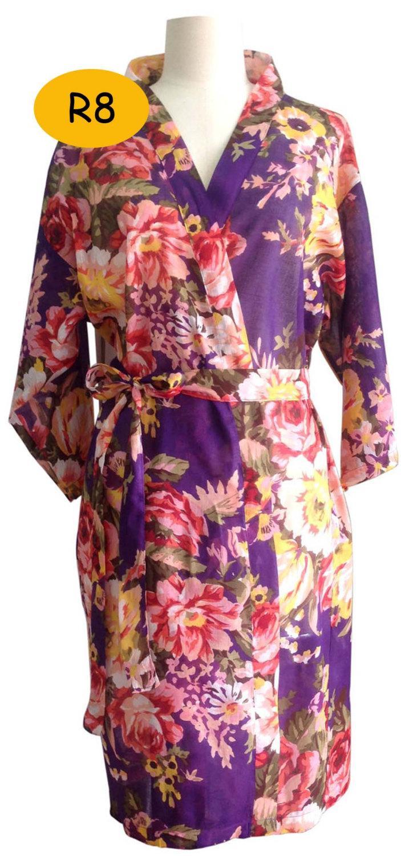 Mariage - Bride Kimono robe - Bridesmaids Robes purple  - Floral robes blooms - Maid of honor -  Spa robe - Patterned Robe - Bridemaid gift robe