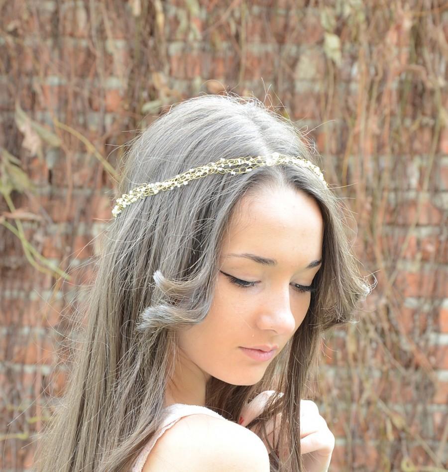 Свадьба - Bridal Hair Seed Beads Crystal Tiara,Wire crochet Crystal Halo, Wedding Crown Headband, White Gold ,headpiece, special occasion accessory