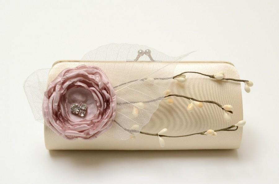 Mariage - Champagne Cream & Dusty Rose Bridal Clutch or Bridesmaid Clutch - Rustic Cottage Country Woodland - Shabby Chic Bouquet Clutch