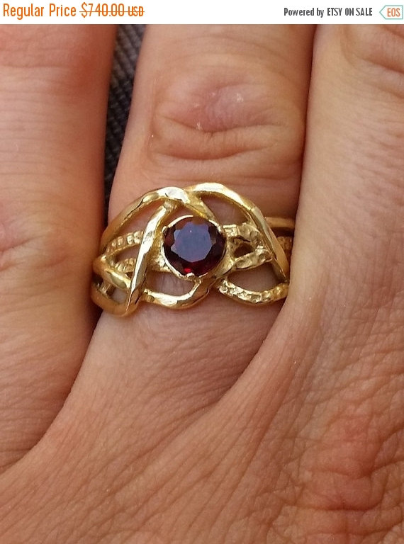On Sale Gold Ring 14K Yellow Gold Handmade Gemstones Artisan Crafted