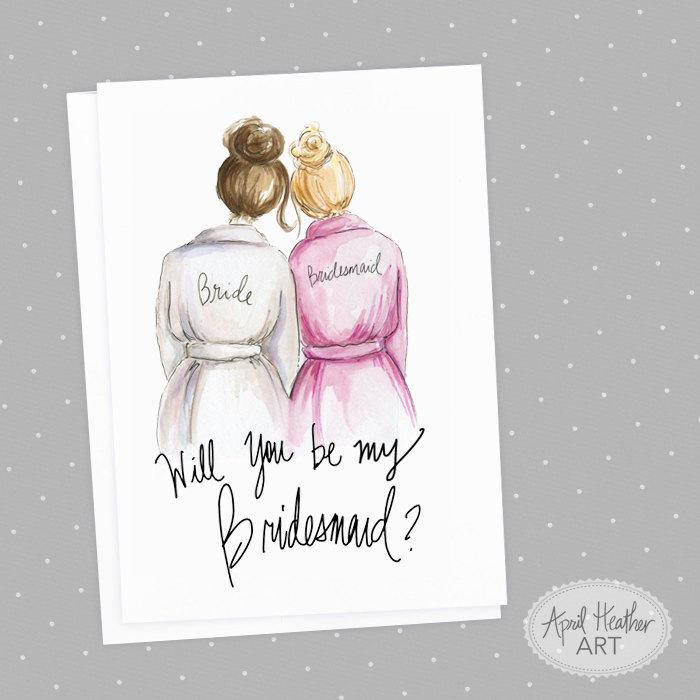 bridesmaid pdf download printable cards brunette bride blonde