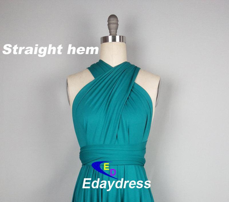 Mariage - Straight Hem Knee Tea Length Silver Bridesmaid Dress Convertible Wrap Teal Green Infinity Dress
