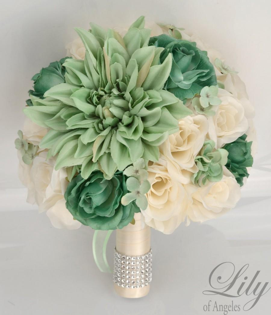 "Mariage - 17 Piece Package Silk Flowers Wedding Bridal Bouquet Bride Artificial Bouquets Decoration TEAL MINT IVORY Aqua Green ""Lily of Angeles MITE02"