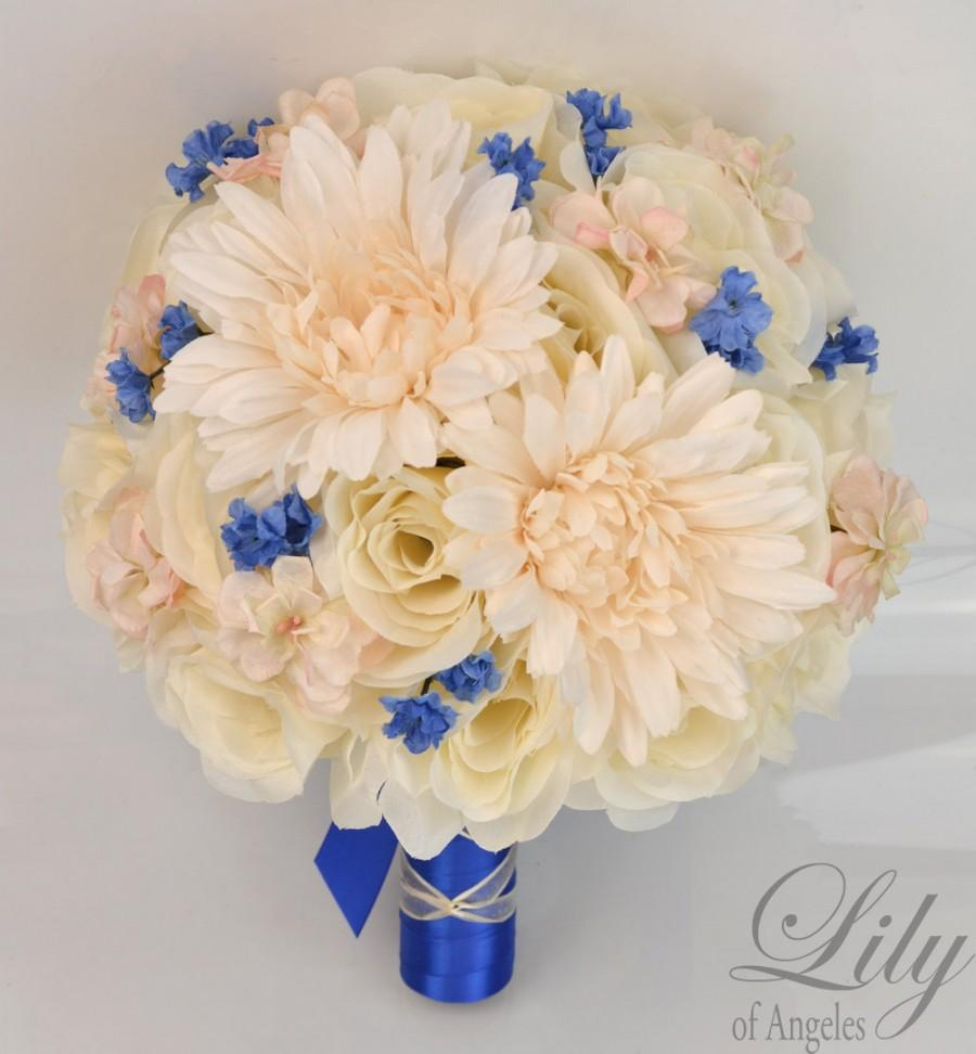 "Свадьба - 17 Piece Package Silk Flowers Wedding Bridal Bouquet Bride Artificial Bouquets Decoration Light PEACH BLUE IVORY ""Lily of Angeles"" PEBL02"