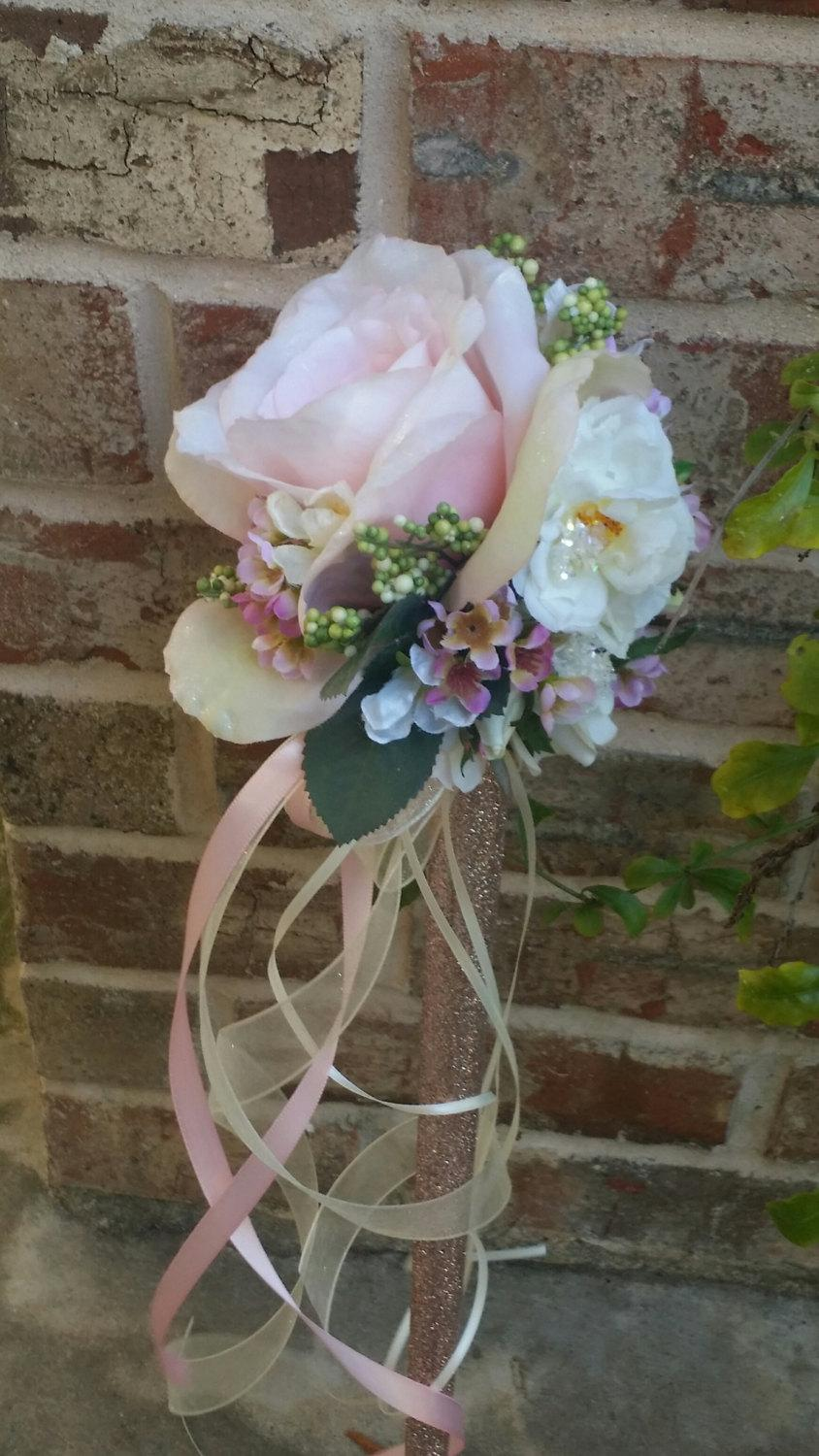 Mariage - Flower Girl Wand Blush Pink Rose Ivory sparkle