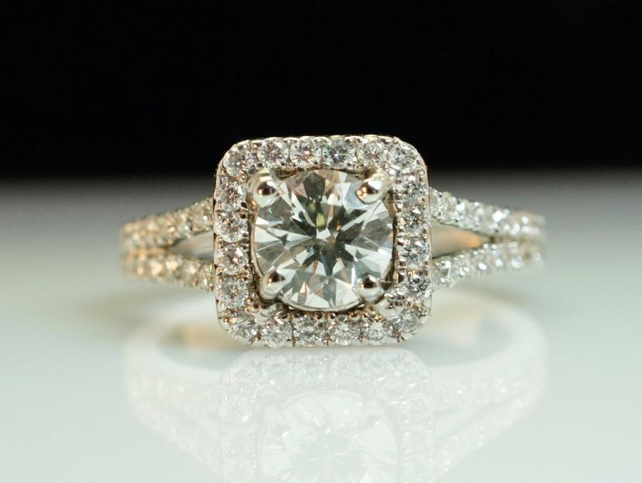 Mariage - SALE - Diamond Engagement Ring -Solitaire Halo & .65ct Center Diamond - Size 5.25 - Sizing Included - Layaway Options - 1.52 cttw