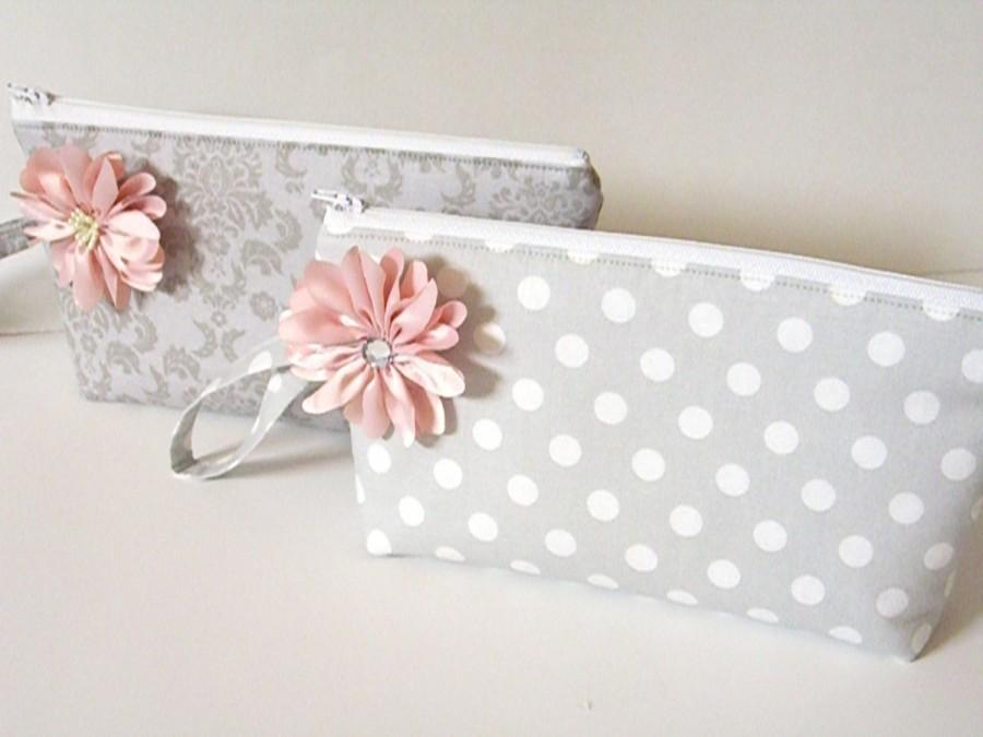 Свадьба - Bridal Clutch Bag - Bridal Makeup Bag - Bridal Zipper Pouch - Bridesmaid Gift - Prom Clutch Bag - Zipper Bag - Cosmetic Bag - Set of 2