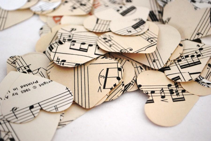 Vintage Sheet Music Heart Confetti, Bulk Amount #2434345