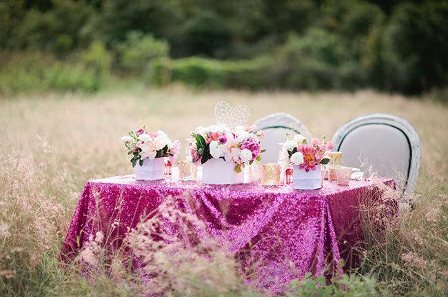 Mariage - CHOOSE YOUR SIZE! Hot pink fuchsia sequin Tablecloth for your vintage Wedding and Events! Custom sparkle table cloths, runners & overlays