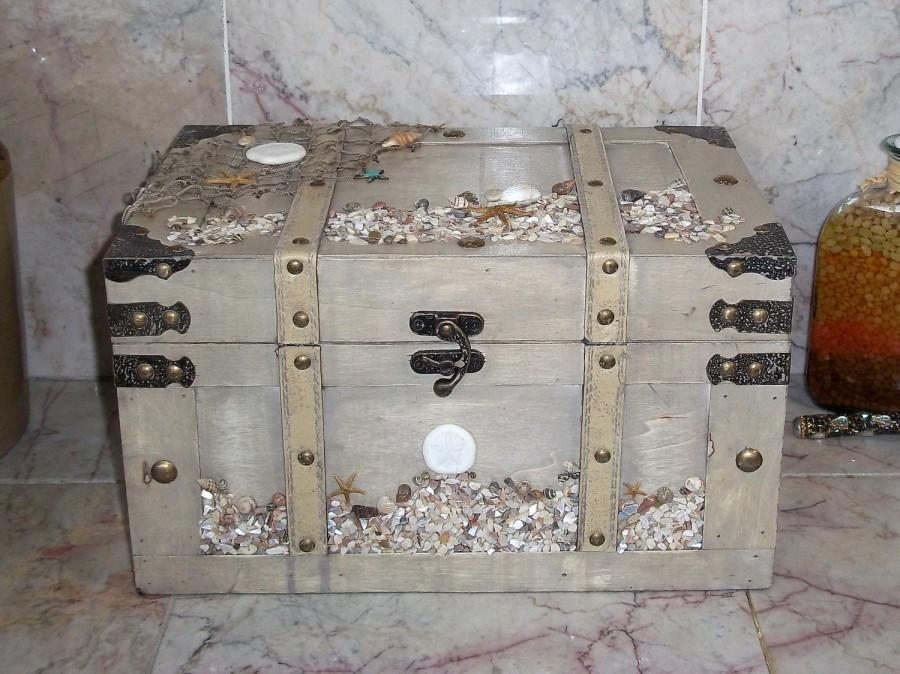 Wedding Card Holder Box Beach Seaside Chest Rustic Wood Trunk – Wedding Card Keepsake Box