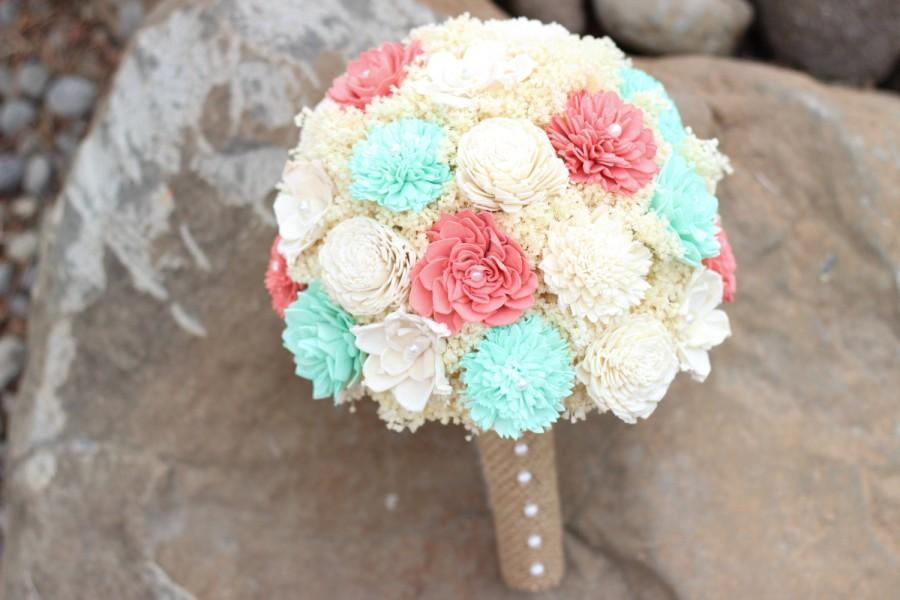 Wedding - Wedding Bouquet,Coral,Mint Bridal Bouquet, Sola Flower Bouquet,Keepsake Bridal Bouquet, Rustic Bridal Bouquet,Bridesmaids Bouquet