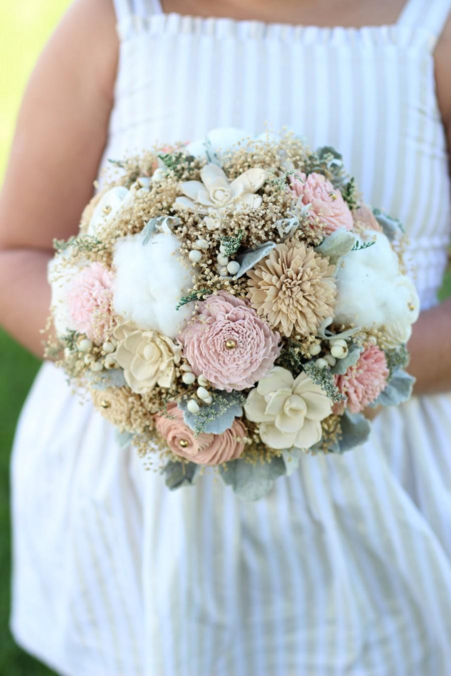 Hochzeit - Wedding Bouquet,Cotton/Tan/Pinks Bridal Bouquet, Romantic Bridal Bouquet, Alternative Bridal Bouquet, Keepsake Bridal Bouquet,Winter Bouquet