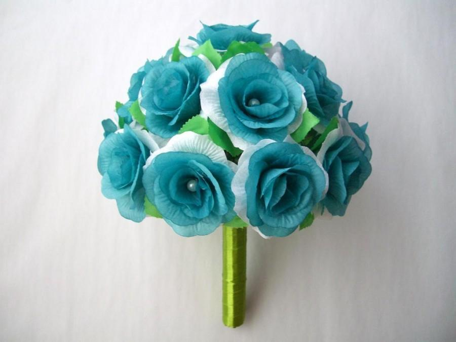 Turquoise Aqua Blue Wedding Bouquet With Fake Artificial Rose Heads And Pearl Decor Flowers Bridal Bridesmaid Brooch