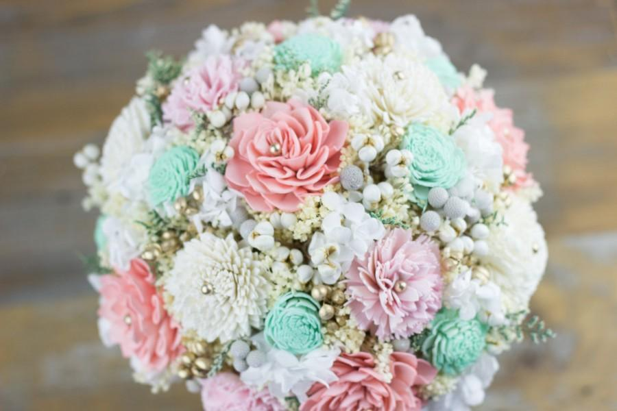 Bridal Bouquet,Woodland Bridal Bouquet,Pink/Baby Pink/Mint Bridal ...