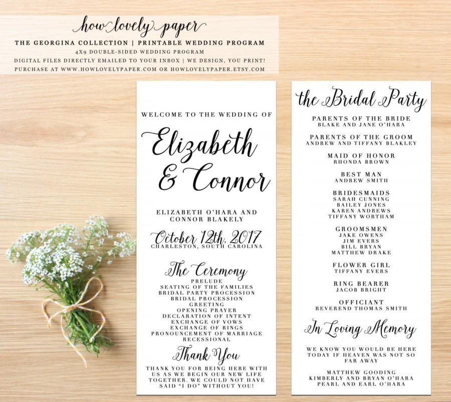 Hochzeit - Printable Wedding Program - the Georgina Collection