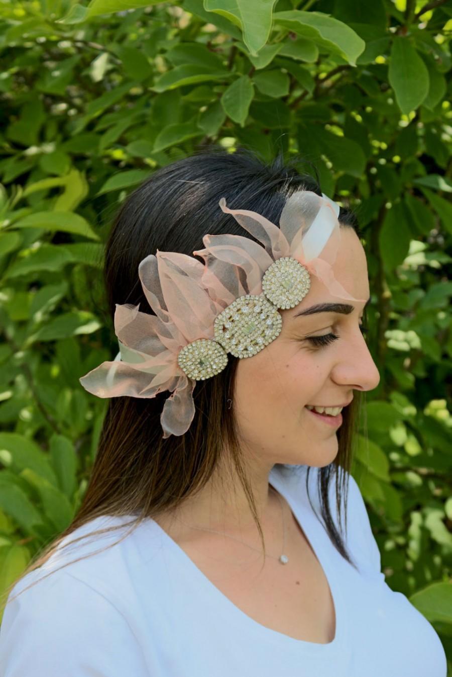 Mariage - Bridal Flapper Headpiece, Wedding Head Piece, Rhinestone 40's Headband, Hair Accessory, Blush Pink Organza Flower, Handmade
