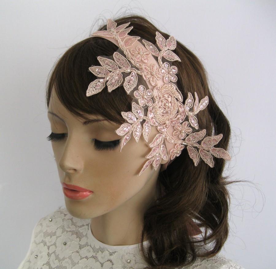 Bridal Fascinator Beaded Weddings Hair Piece Headband In Venetian Lace Lique Blush Powder Pink Handmade