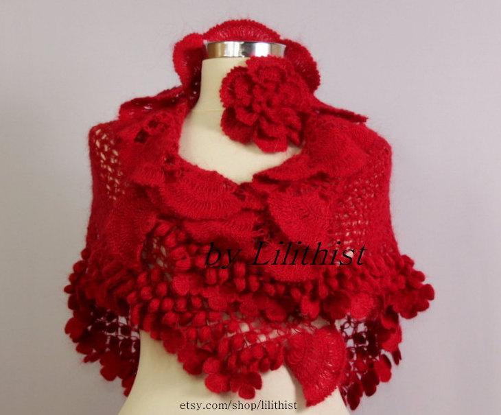 Bolero Scarf Shawl Neckwarmer Crochet Pattern : Red Crochet Shawl Wrap, Flower Shawl, Bridal Shrug Shawl ...