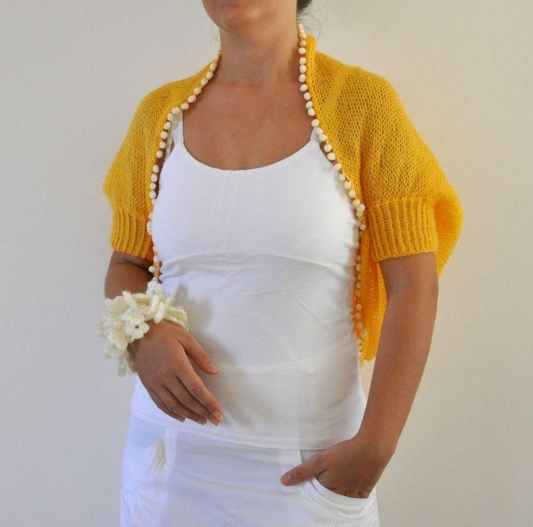 Hochzeit - Yellow Mohair Shrug Bolero Bridal Shrug Wedding Jacket Hand Knit