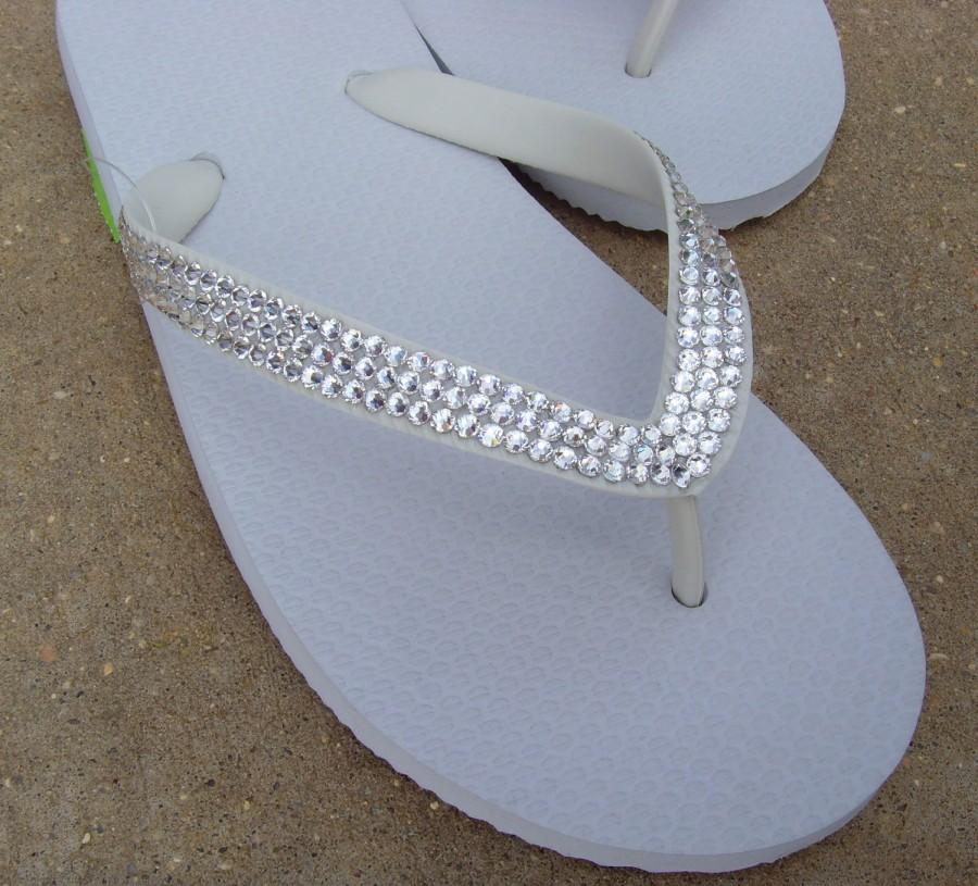 12f4a6c3f58d Swarovski Crystal Rhinestone Embellished White Flip Flops