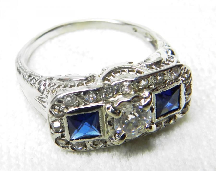 Свадьба - Antique Engagement Ring 1 Ct tdw Old European Cut 18K Diamond Ring Blue Sapphire 1920s Engagement Ring Art Deco Engagement Ring September