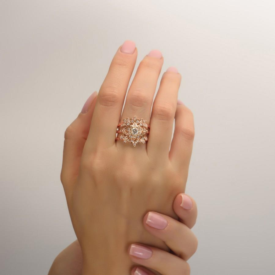 Mariage - GIA Certified, Bridal Set - Art Deco Petal Engagement Ring - 14K Rose Gold and Diamond engagement ring, wedding set, unique engagement ring