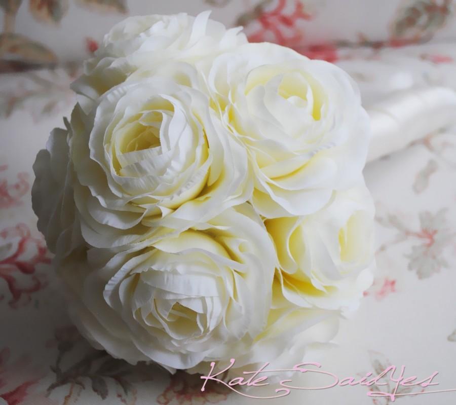Mariage - Wedding Bouquet Ivory Cream Ranunculus Silk Wedding Bouquet