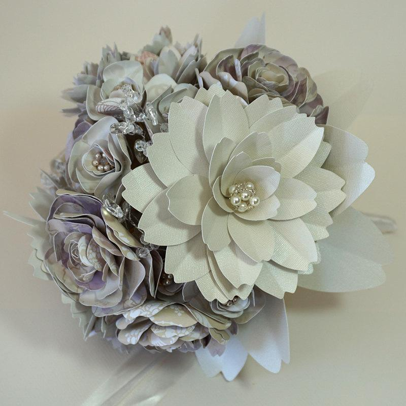 Mariage - Paper Flower Bouquet for Wedding - Handmade Flowers with Stems in Cream, Taupe and Pink