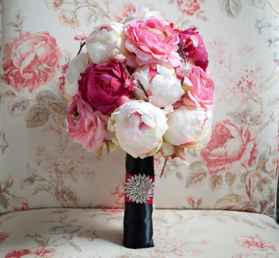 Mariage - Cherry Blossom and Peony Wedding Bouquet - Black and Pink Peony Bouquet