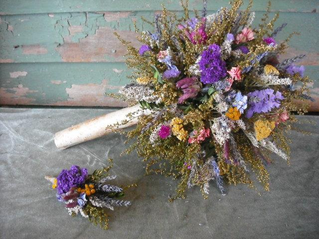 Fragrant Dried Flower And Herb Bride\'s Bouquet With Birch Handle ...